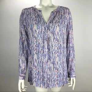 NYDJ Pullover Button Roll Tab V Neck Blouse S